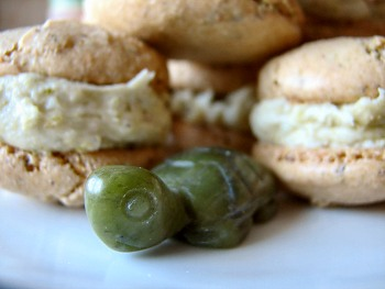 Pistachio Macarons with jade turtle