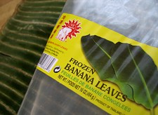 Frozen banana leaves