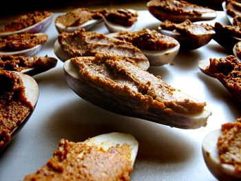 Eggplant with spiced peanuts, uncooked